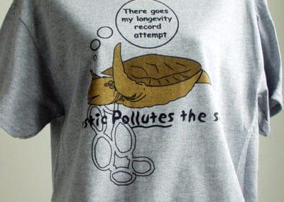 Plastic Pollutes Turtle