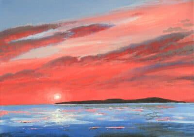 Sunset over Flatholm, Weston-Super-Mare