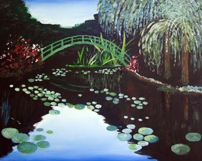 Water Lilies and Japanese Bridg
